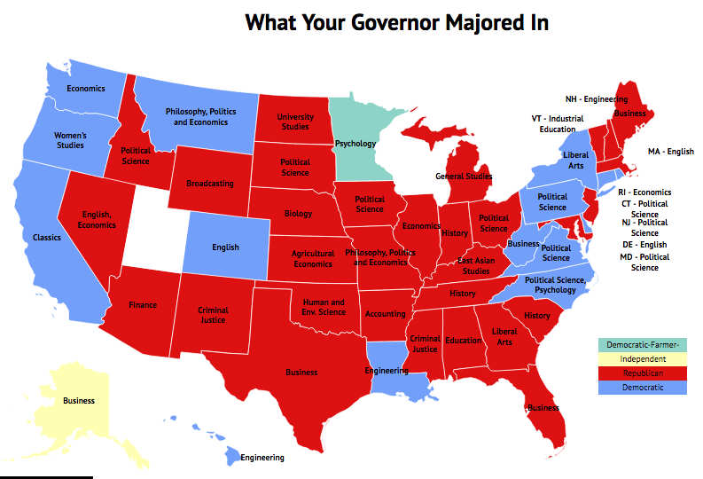 Politics Isnt All Political Science What Governors Major In Zippia - Political map us governors