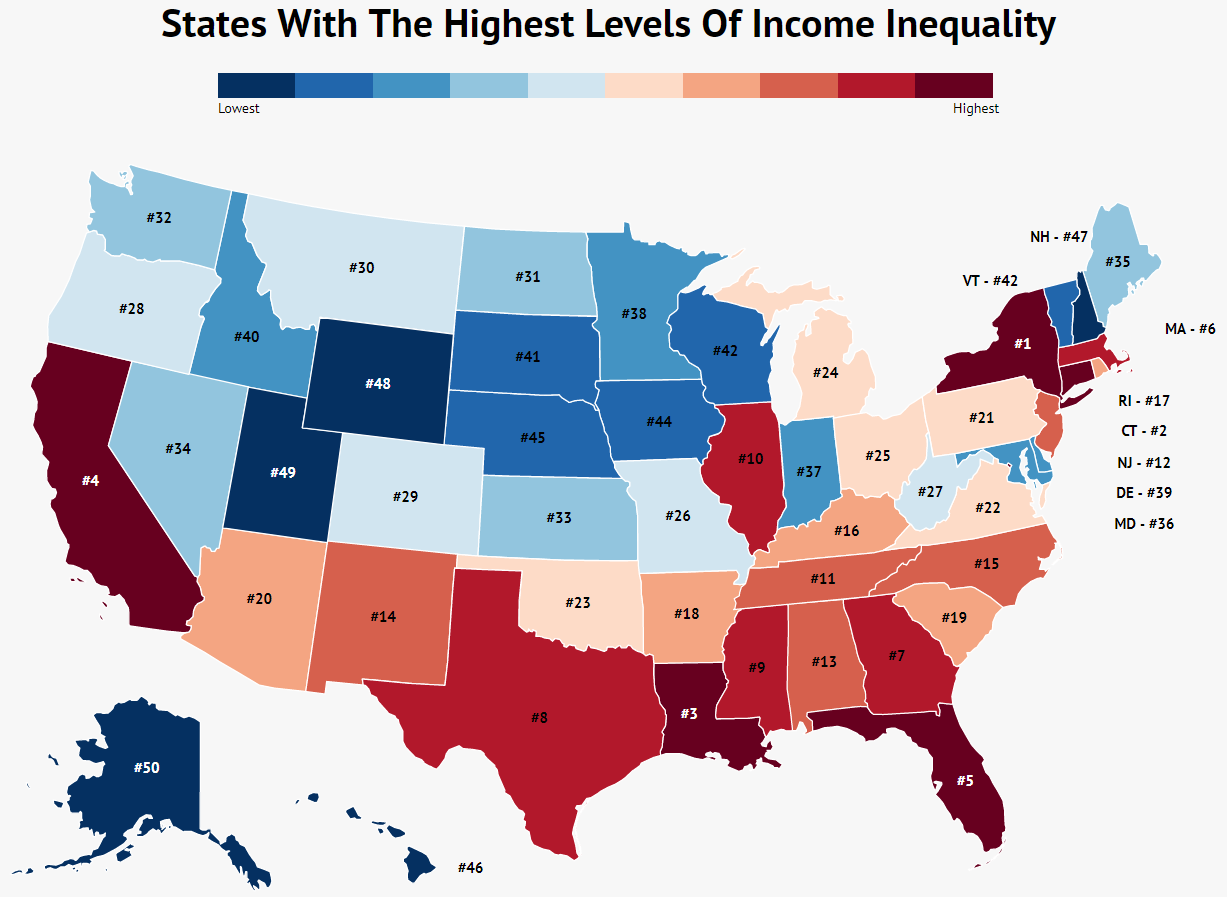 Income Inequality By State Map