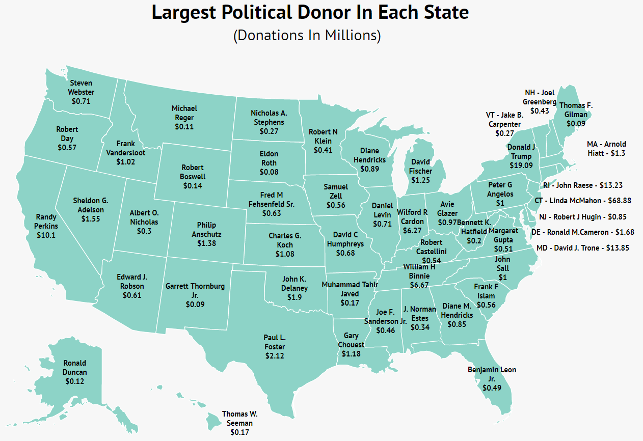 This Map Shows The Largest Individual Political Donor In Each State