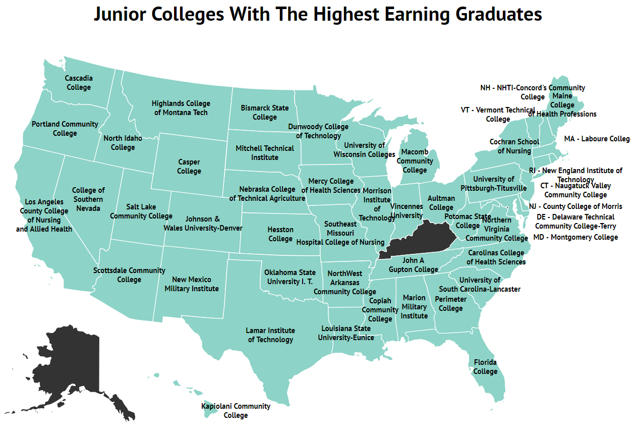 Junior Colleges With Highest Earning Graduates Map
